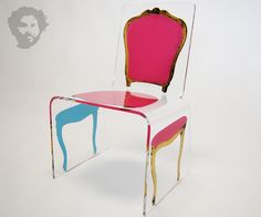Lucite Louis Chair in pink, designed by Aaron R. Thomas.