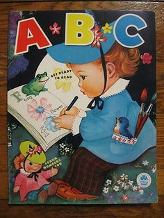 Large Vintage A B C Coloring Book Merrill Company