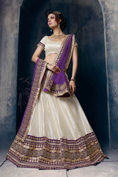 Off White Silk Wedding Lehenga Choli 63113