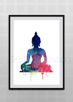 Set of 3 Yoga Meditation Zen Watercolor Art Print - Om Symbol, Buddha, Lotus Flower - Wall Decor Birthday Gift Watercolor Print, Watercolor Paintings, Art Paintings, Watercolors, Buddha Painting, Zen Meditation, Yoga Art, Flower Wall Decor, Hanging Art