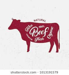 Cow silhouette and hand written lettering words beef, farm, fresh, organic. Logo, sign, icon for groceries, meat stores, butcher shop, farmer market. Poster for meat related theme.