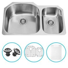 Vigo Undermount Stainless Steel 31.5x20.5x9.25 in. 0-Hole Double Bowl Kitchen Sink with Grid and Strainer-VG3121LK1 - The Home Depot