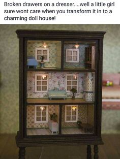Use an old Drawer add feet then decorate each as a room. This is an adorable dollhouse!