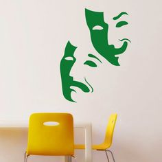 Comedy Tragedy masks wall sticker, lovely instant decoration