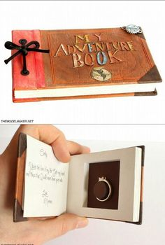 Ellie's adventure book engagement ring box from Disney's UP