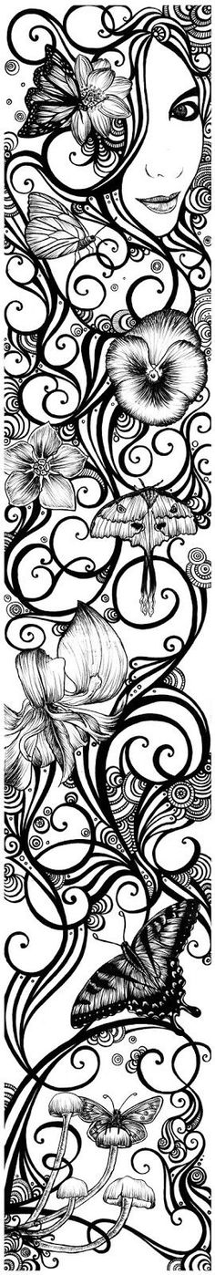 This is a gorgeous bookmark if you make the image smaller…. also very challenging to color when that size!