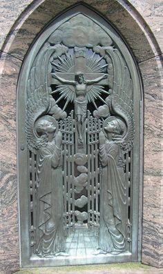 Beautiful Mausoleum door at Clancy Oakridge - Glen Oak Cemetery, Hillside IL