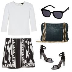 Get The Look Shaefer Quilted Sweatshirt, Rachel Zoe $285 Easy Cowboy Black Sunglasses, Le Specs $50 Paco Bag, Boyy $645 Abbot Suede Sandals, Joie $270 Patterned Miniskirt with Border, Zara $80t
