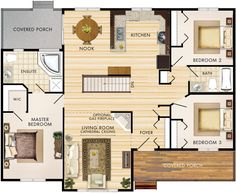 Linwood Floor Plan. Move fireplace back against stairs to open living room up.