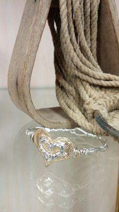 Goldtone Hammered Heart Wire Bracelet
