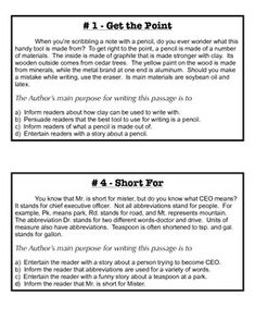 This activity includes 22 small passages written at about a 4th-5th grade level. With each passage is a question about the author's purpose for the passage. Unlike most author's purpose worksheets, which only offer answers of the specific purpose, these answers include the purpose and the reasoning behind the purpose.