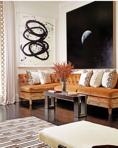 Love. Dramatic, old world charm, and a blushing leach velvet. Terrific w the polished floors, modern art, and rugs.