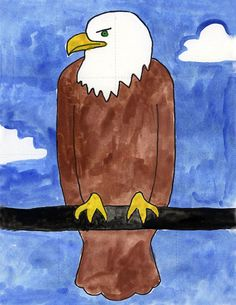 PDF tutorial for drawing an eagle. Good for kinder and up. Art Projects for Kids. #eagle #howtodraw #directdraw
