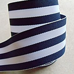 "Classic navy blue and white Taffy striped 1 1/2"" grosgrain ribbon. $1.59, via Etsy.- Love this ribbon!"