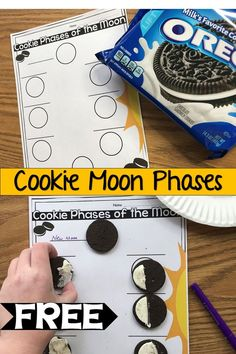 Use Oreos or other cream filled cookies to recreate the moon phases fun and interactive science unit Science Lesson Plans, Kindergarten Lesson Plans, Science Lessons, Lessons For Kids, Science For Kids, Elementary Science, Space Activities For Kids, Moon Activities, Science Activities