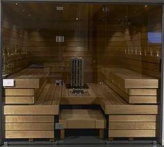 Lasiseinä saunaan Sauna Design, Home Spa, Corner Desk, Table, Saunas, Furniture, Wellness, Home Decor, Basement