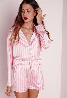Missguided - Long Night Shirt Pajama Set Pink More