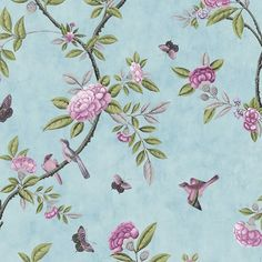 Chinoiserie Wallpaper with Birds | Egg / Pink / Green - 50-763 - Chinoiserie - Trailing Peony - Birds ...