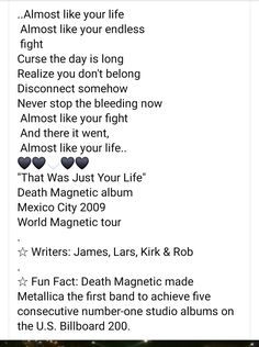 Life And Death, Number One, Billboard, Metallica, Like You, Fun Facts, Writer, Album, Poster Wall