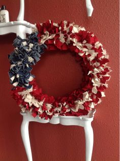 American Flag Rag Wreath by LandonAvenueDesign on Etsy, $35.00