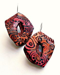 "Christine Damm -   ""Valentine Noir"" earrings - polymer clay 