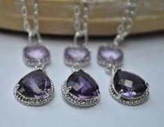 Bridesmaid necklaces set of 3 Purple Amethyst Necklace Lavender Glass Teardrop in Silver Plate. $64.00, via Etsy.