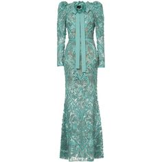 Elie Saab long sleeves full embellished column gown (€25.285) ❤ liked on Polyvore featuring dresses, gowns, green, silk evening gowns, long sleeve gowns, green evening dress, elie saab gowns and silk gown