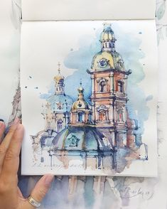 The Peter and Paul Fortress is the original citadel of St. Sketch Painting, Watercolor Artwork, Watercolor Drawing, Painting Art, Architecture Drawing Sketchbooks, Watercolor Architecture, Landscape Architecture, Watercolor Inspiration, Art Sketches