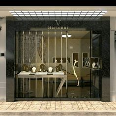 Jewellery retail store front and window display design jewelry shop design Design Shop, Shop Interior Design, Boutique Interior, Jewellery Shop Design, Jewellery Showroom, Window Display Design, Store Window Displays, Shop Facade, Retail Store Design