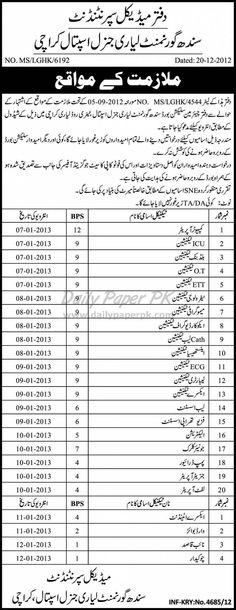 Job Opportunities In Sindh Government Lyari General Hospital Karachi  http://www.dailypaperpk.com/jobs/177640/job-opportunities-sindh-government-lyari-general-hospital-karachi