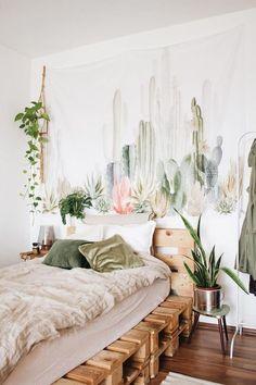 Bedroom plants decor, cactus bedroom, abstract lines, urban outfitters room, Cactus Bedroom, Bedroom Plants Decor, Wall Decor, Wall Art, Living Room Decor With Plants, Plant Decor, Cactus Decor, Decor Room, Wall Murals