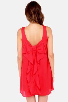 Under the Bow-dwalk Red Shift Dress at LuLus.com!