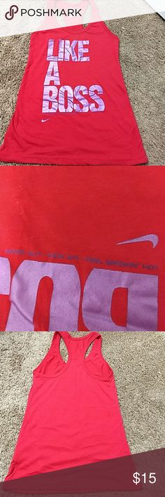 Nike Tank Great condition. Red tank with purple lettering. Second pic is the upside down words on the tank. Nike Tops Tank Tops