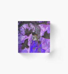 Raven Witch - Dark Violet Acrylic Block Halloween Celebration, Raven, Fantasy Art, Witch, Autumn, Wall Art, Cool Stuff, Dark, Illustration