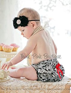 This beautiful headband features two shabby chic flowers on an elastic headband. It is topped with a luxurious eye-catching pearl and rhinestone center. The flowers are felt backed for comfort. Simple and yet elegant, sure to be a real head turner! Available in other colors. SHOP this look at http://thinkpinkbows.com/products/copy-of-pearl-shabby-chic-headband-2?variant=11068524291   Baby Girl + Kids Fashion