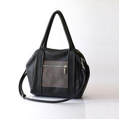 Gray Leather handbag - OPELLE l. Liria Duffel - Soft Pebbled Leather w Zipper Pockets in Iron