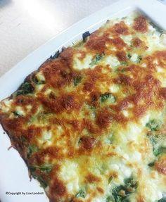 Lasagne med spinat og hytteost