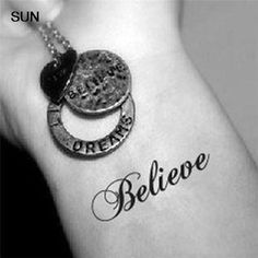 Waterproof Temporary Tattoo - Believe (4 in a set) by tattooforeverybody on Etsy