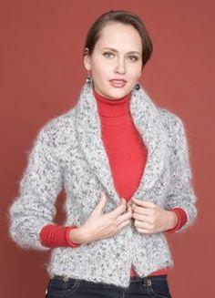 Free Knitting Pattern 60628 Shawl Collar Sweater : Lion Brand Yarn Company