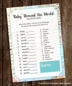 Travel Baby Shower Game  Baby Around the World by SouthernTwist1                                                                                                                                                                                 More