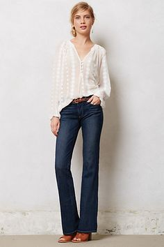 """Hmmm.  Wide jeans are ok if tucked???? Well, and they actually are pretty fitted - unlike my """"yellow"""" pants.  And it does look fall  like.    Neve Peasant Top - anthropologie.com"""