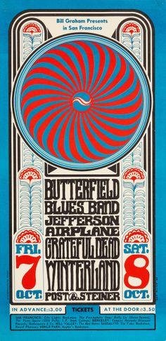 Butterfield Blues Band/Jefferson Airplane/Grateful Dead, October 7 & 8, 1966 - Winterland (San Francisco, CA) Artwork by Wes Wilson