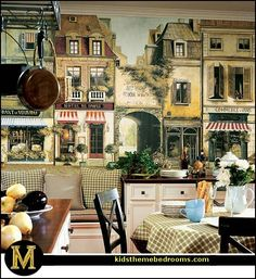 French Country Kitchen with Banquette Seating and La Rue De Paris Wall Mural