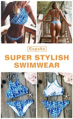 Show it off with $19.99 Only with free shipping Now! This blue tie-dyed classic is detailed with tank top, cross/tie at back and high leg cut! What you need is all included in this Cupshe tankini set!