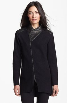 Eileen Fisher Leather Trim Boiled Wool Jacket (Regular & Petite) available at #Nordstrom