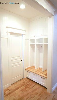 Built-in Mudroom Lockers -http://sawdustgirl.com/