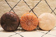 Leather Tan Moroccan Pouf Available in 3 colors Morrocan Rug, Moroccan Pouf, Moroccan Decor, Bohemian Interior Design, Bohemian Decor, Boho Trends, Modern Boho, Interior Inspiration, Accent Decor