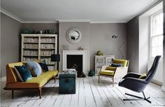 This space is fabulous. Love the grey with the yellow and turquoise accents.