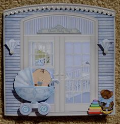 Baby Boy Handmade Multi Paper Stacking 3D Greeting Card