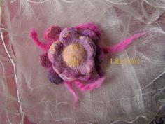 Small blossom flower brooch of felted merino wool in by LanAArt